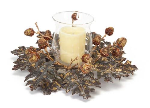 "14"" Shimmering Oak Leaf and Acorn Hurricane Glass Christmas Candle Holder - IMAGE 1"