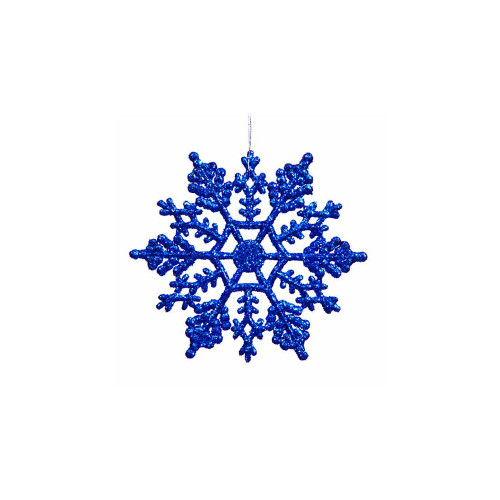 "Club Pack of 24 Lavish Blue Glitter Shatterproof Snowflake Christmas Ornaments 4"" - IMAGE 1"