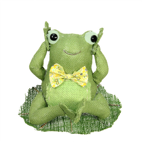 """7.5"""" Green, Yellow and White Decorative Sitting Frog Spring Table Top Decoration - IMAGE 1"""