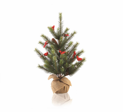 2' Green and Brown Glittered Cardinal Snow Pine Artificial Christmas Tree - Unlit - IMAGE 1