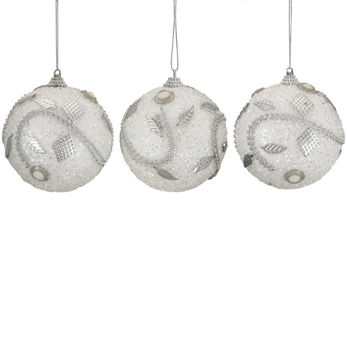 """3ct White and Silver Shatterproof Beaded Christmas Ball Ornaments 3"""" (75mm) - IMAGE 1"""
