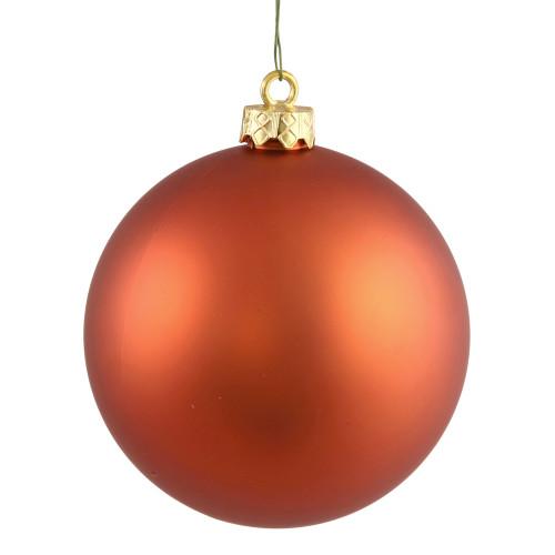"Matte Orange UV Resistant Shatterproof Christmas Ball Ornament 2.75"" (70mm) - IMAGE 1"