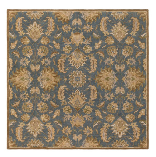 4' x 4' Cadet Blue and Olive Green Hand Tufted Square Wool Area Throw Rug - IMAGE 1