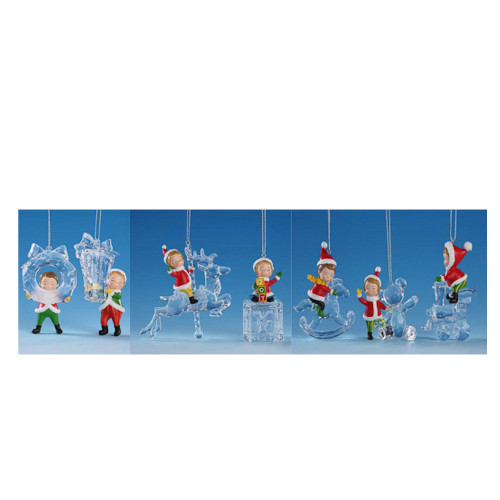 """Club Pack of 14 Clear Whimsical Decorative Icy Crystal Christmas Elves Ornaments 3"""" - IMAGE 1"""