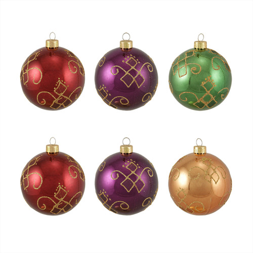 """6ct Vibrantly Colored Glittered Earth Tone Shiny Shatterproof Christmas Ball Ornaments 3.25"""" (80mm) - IMAGE 1"""