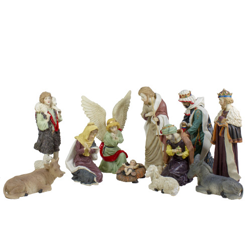 "11pc Ivory and Brown Christmas Religious Nativity Figurine Set 18"" - IMAGE 1"