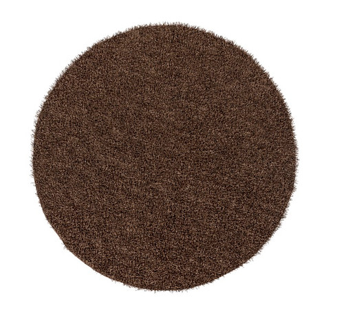 9' Black and Brown Contemporary Round Wool Area Throw Rug - IMAGE 1