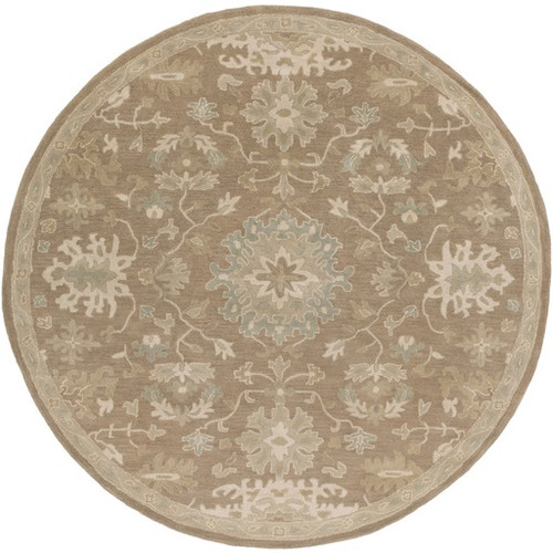 8' Oriental Camel Brown and Gray Hand Tufted Round Wool Area Throw Rug - IMAGE 1