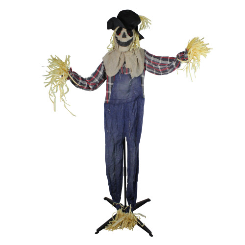 5.5' Battery Operated LED Lighted Animated Scarecrow Halloween Decor - IMAGE 1