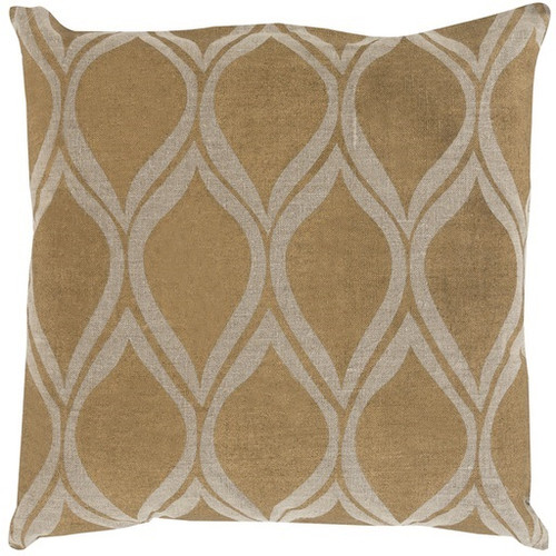"20"" Gold and Brown Contemporary Square Throw Pillow - Down Filler - IMAGE 1"