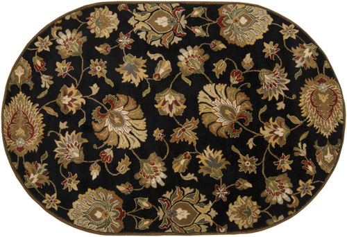 6' x 9' Black and Brown Contemporary Hand Tufted Floral Oval Wool Area Throw Rug - IMAGE 1