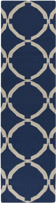 2.5' x 8' Coupled Circles Navy Blue and Beige Hand Woven Rectangular Wool Area Throw Rug Runner - IMAGE 1