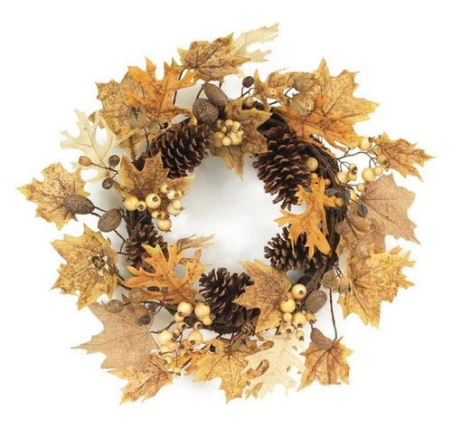 Brown and Yellow Pine Cones and Leaves Artificial Harvest Wreath - 24-Inch, Unlit - IMAGE 1