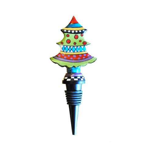 """Set of 2 Red and Blue Whimsical Christmas Tree Bottle Stoppers 7"""" - IMAGE 1"""