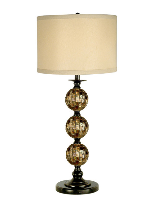 "31"" Dark Antique Bronze Mosaic 3 Ball Glass Table Lamp with Cream Drum Shade - IMAGE 1"