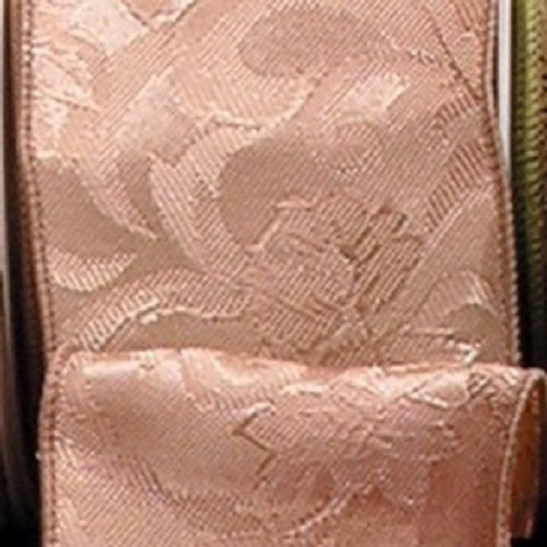 """Ivory Floral Wired Craft Ribbon 2.5"""" x 20 Yards - IMAGE 1"""