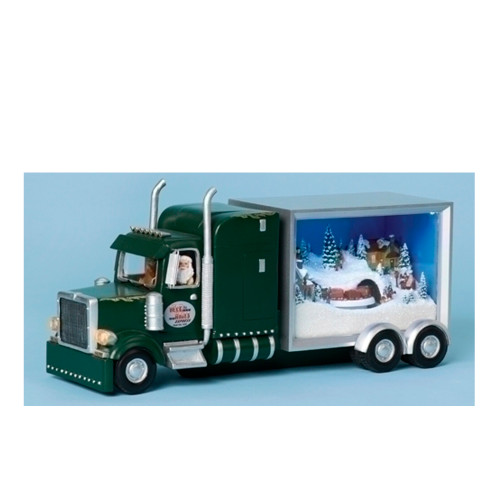 "12.5"" Green and Silver Lighted Musical Truck Sleeper Santa Christmas Figure - IMAGE 1"