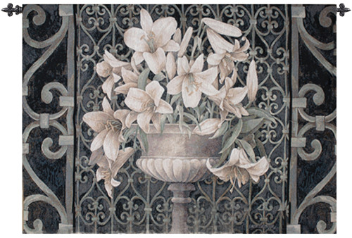 "Lilies in Urn Ornate Iron Gate Cotton Wall Art Hanging Tapestry 35"" x 53"" - IMAGE 1"