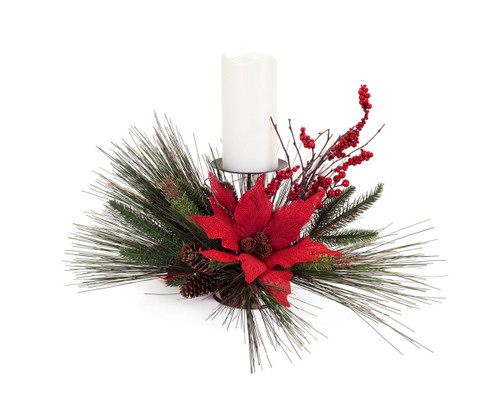 """13"""" Red and Green Poinsettia Floral Artificial Christmas Pillar Candle Holder - IMAGE 1"""
