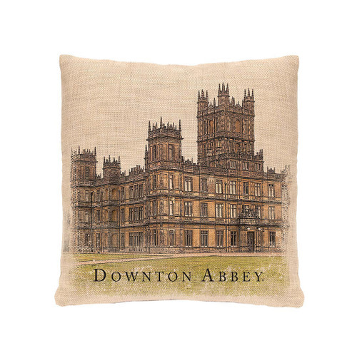 "18"" Brown and Beige Downton Abbey Highclere Castle Square Throw Pillow - IMAGE 1"