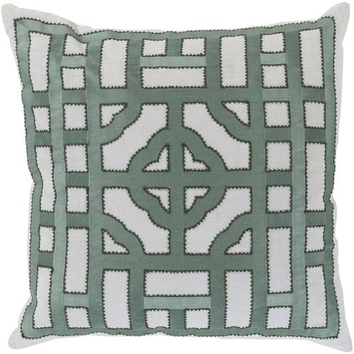 "22"" White and Green Throw Pillow - Down Filler - IMAGE 1"