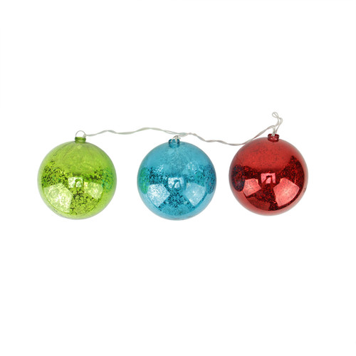 Set of 3 Lighted Multi-Color Mercury Glass Finish Ball Christmas Ornaments - Clear Lights - IMAGE 1