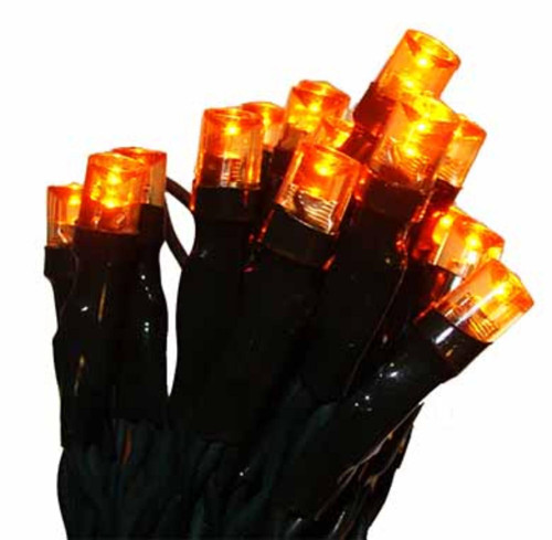 20 Battery Operated Amber LED Wide Angle Mini Christmas Lights - 6.25 ft Green Wire - IMAGE 1
