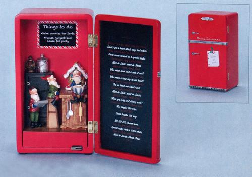 "7"" Red and Black Fridge Full of Elves LED Lights Christmas Figurine - IMAGE 1"