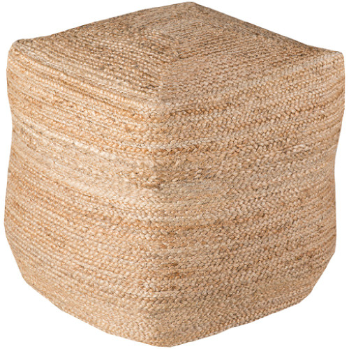 "18"" Sandy Brown, Beige and Tan Braided Natural Jute Square Pouf Ottoman - IMAGE 1"