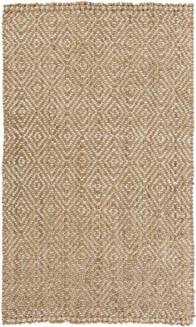 5' x 8' Beige and Ivory Hand Woven Area Throw Rug - IMAGE 1