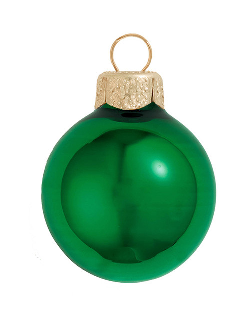 "6ct Green Shiny Glass Christmas Ball Ornaments 4"" (100mm) - IMAGE 1"