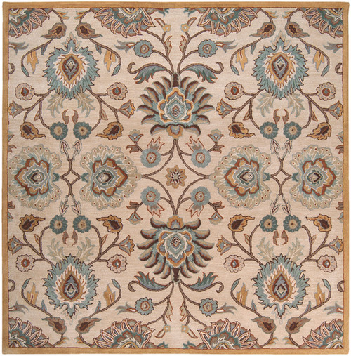 8' x 8' Brown and Stone Blue Hand Tufted Square Area Throw Rug - IMAGE 1
