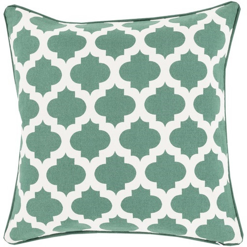 "20"" Emerald Green and White Moroccan Lattice Square Throw Pillow - IMAGE 1"