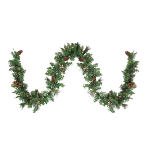 """9' x 10"""" Pre-Lit Yorkville Pine Artificial Christmas Garland - Clear Lights - IMAGE 1"""