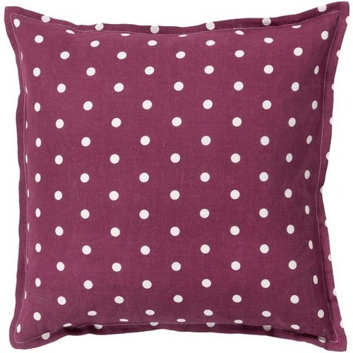 """22"""" Red and White Polka Dots Square Contemporary Throw Pillow - Down Filler - IMAGE 1"""
