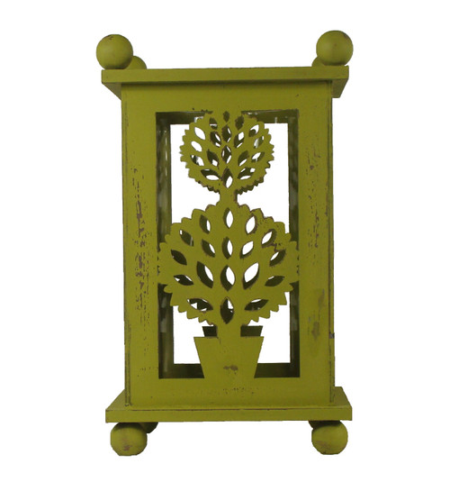 """12.5"""" Pistachio Green Distressed Double Ball Tree Cut-Out Pillar Candle Lantern - IMAGE 1"""