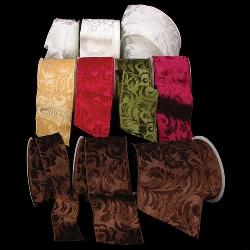 """Chocolate Brown Floral Wired Craft Ribbon 4"""" x 20 Yards - IMAGE 1"""