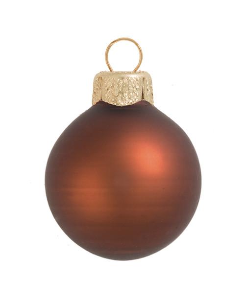 "12ct Chocolate Brown Matte Glass Christmas Ball Ornaments 2.75"" (70mm) - IMAGE 1"
