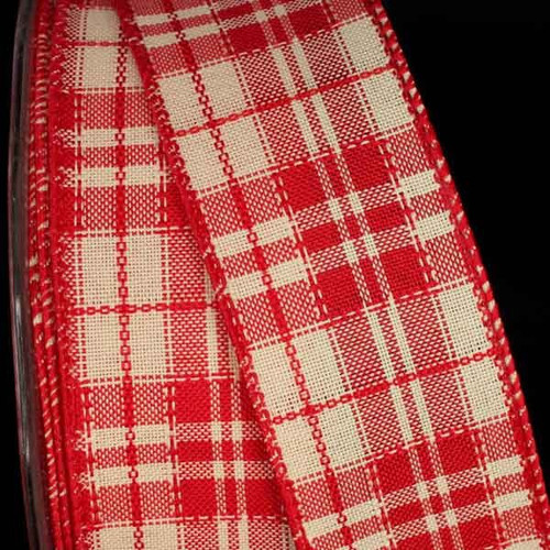 """Red and Ivory Plaid Wired Craft Ribbon 1.5"""" x 40 Yards - IMAGE 1"""