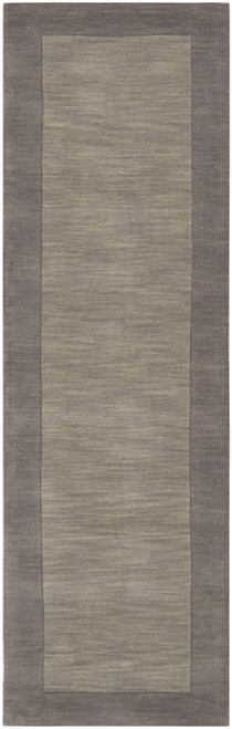 2.5' x 8' Solid Gray Hand Loomed Rectangular Wool Area Throw Rug Runner - IMAGE 1
