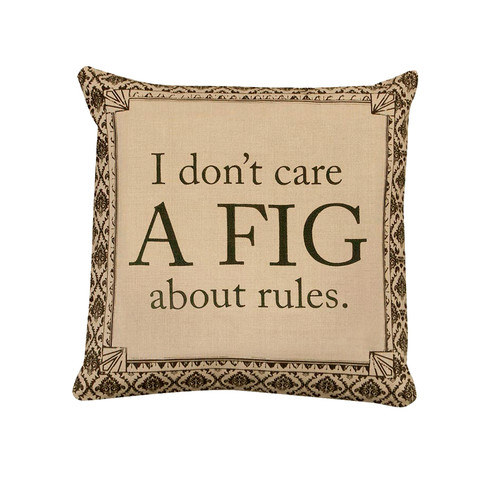 "18"" Downton Abbey I Don't Care a Fig About Rules Square Throw Pillow - IMAGE 1"