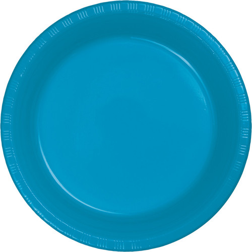 """Club Pack of 240 Turquoise Blue Disposable Plastic Party Lunch Plates 6.75"""" - IMAGE 1"""