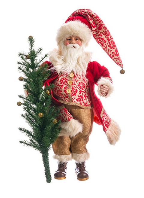 "24"" Red and White Santa Claus Holding Tree Christmas Tabletop Decor - IMAGE 1"