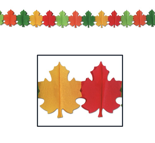 Club Pack of 12 Red, Green, Yellow and Orange Fall Leaf Tissue Garland Party Decorations 12' - IMAGE 1