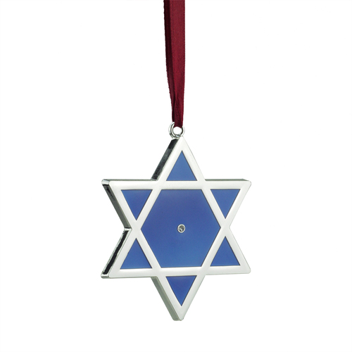 "3"" Silver and Blue Shiny Star of David European Crystal Hanukkah Ornament - IMAGE 1"