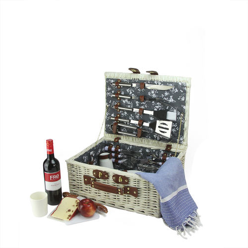 """17.75"""" White Handwoven 4-Person Picnic Basket Set with Barbecue Accessories - IMAGE 1"""