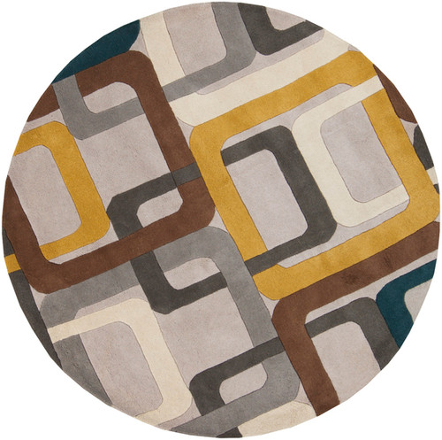 4' Soporific Squircle Gray, White and Teal Blue Hand Tufted Round Wool Area Rug - IMAGE 1