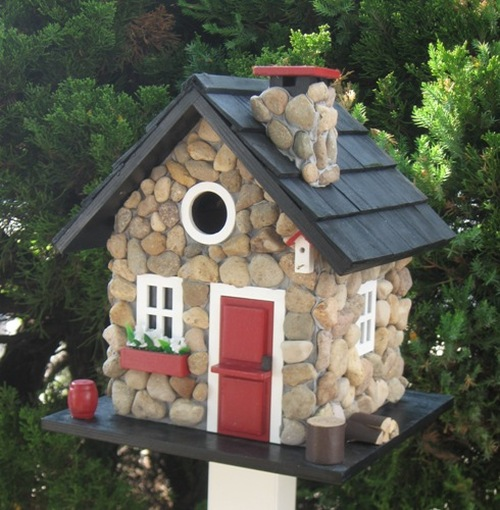 """9.5"""" Stone Cottage Red Black & White Fully Functional Outdoor Garden Birdhouse - IMAGE 1"""