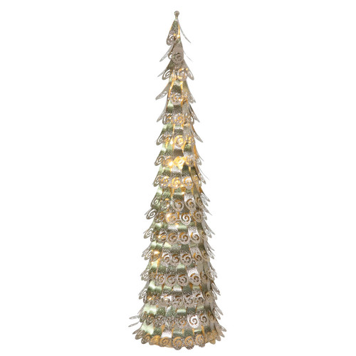 4' Pre-Lit Green Cone Artificial Christmas Tree - Warm Clear LED Lights - IMAGE 1