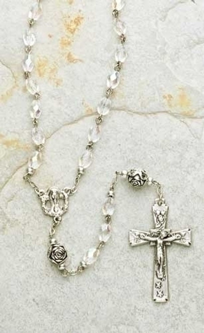 """23"""" Florentine Clear Iridescent 8mm Glass Beaded Rosary with Keepsake Box - IMAGE 1"""